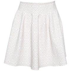 Alaia Beige Lurex Jacquard Patterned High Waist Mini Skirt M