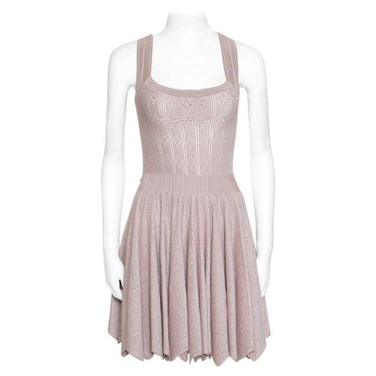 457c0b3dfc Alaia Beige Perforated Knit Zig Zag Bottom Square Neck Mantille Dress M For  Sale