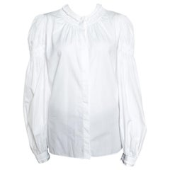 Alexander McQueen White Ruffled Gathered Trim Detail Long Sleeve Blouse M