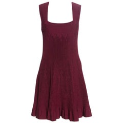 Alaia Maroon Pleated Square Neck Sleeveless Dress M