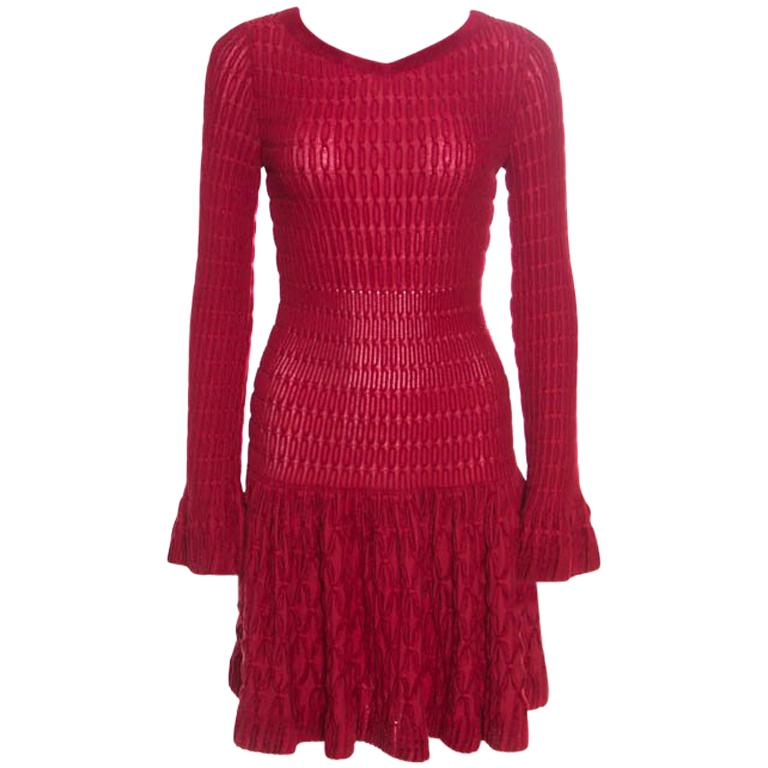 Alaia Red Chenille Wool Patterned Long Sleeve Skater Dress M For Sale