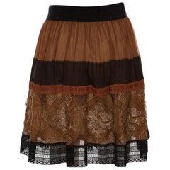 Alberta Ferretti Brown Silk Colorblock Lace Panel Detail Gathered Skirt L