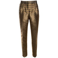 Alberta Ferretti Dull Gold Patterned Jacquard High Waist Tapered Trousers M