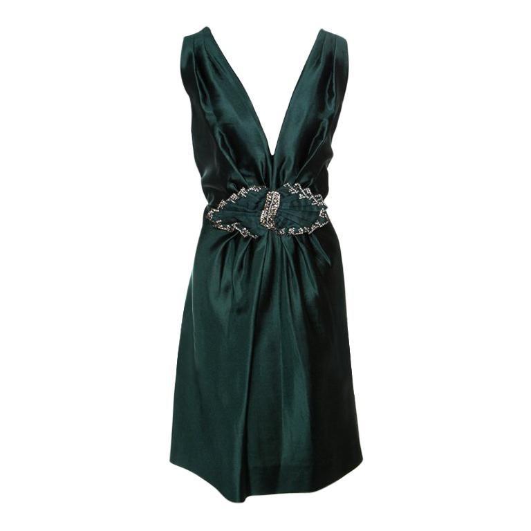 Alberta Ferretti Green Crystal Embellished Waist Detail Sleeveless Dress M For Sale