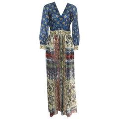 Alberta Ferretti Printed Silk Lurex Jacquard Peasant Sleeve Maxi Dress S