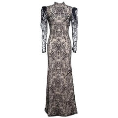 Alexander McQueen Beige and Black Backless Butterfly Lace Gown M