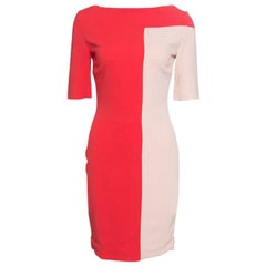 Antonio Berardi Red and Peach Colorblock Sheath Dress S