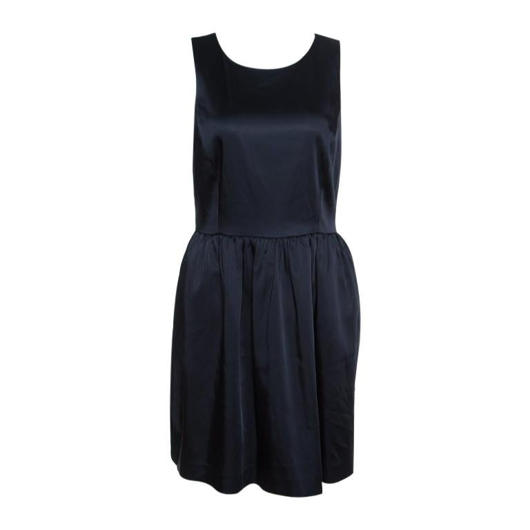 Armani Collezioni Navy Blue Sleeveless Sheath Dress S For Sale