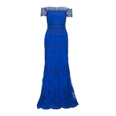 Badgley Mischka Cobalt Blue Floral Embroidered Tulle Embellished Gown M