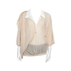 Balenciaga Beige Silk Lapel Collar Detail Faux Wrap Blouse S