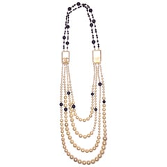 Chanel Graduated 4 Strand Pearl & Black Bead Necklace, Spring 2003 Collection