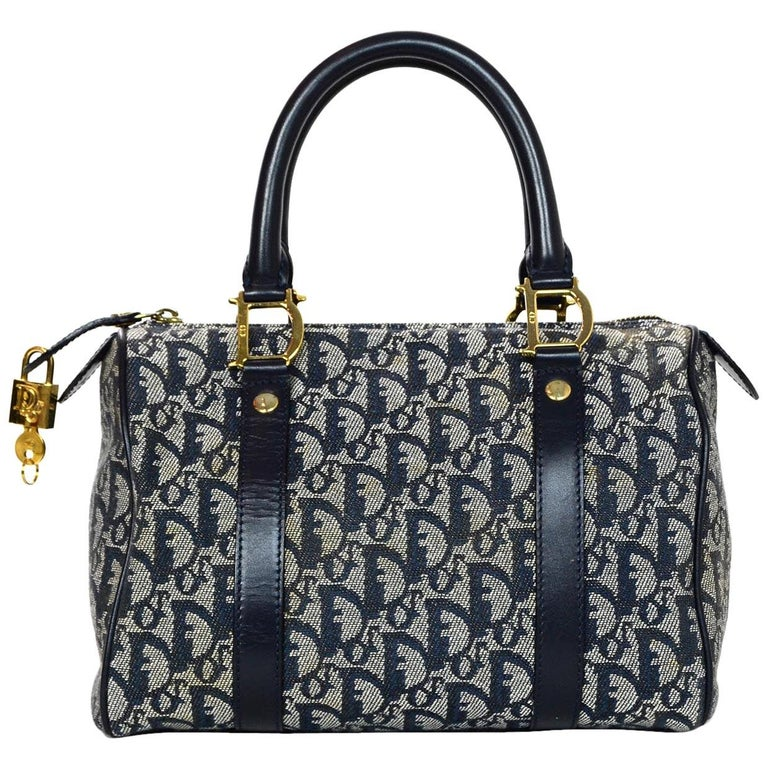 Christian Dior Vintage Blue Monogram D Buckle Boston Bag w  Lock   Key For  Sale 9efa4ab670839