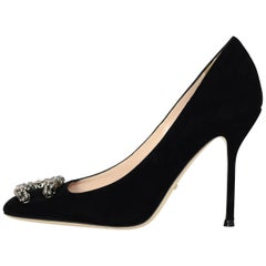 Gucci New Black Suede Dionysus Embellished Square Toe Pumps Sz 37.5