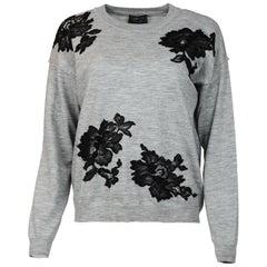 Lanvin Grey Sweater W/ Black Lace Flowers Sz M