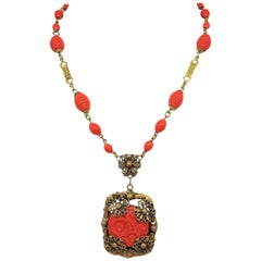 Circa 1920s Czech Coral Glass Pendant Necklace