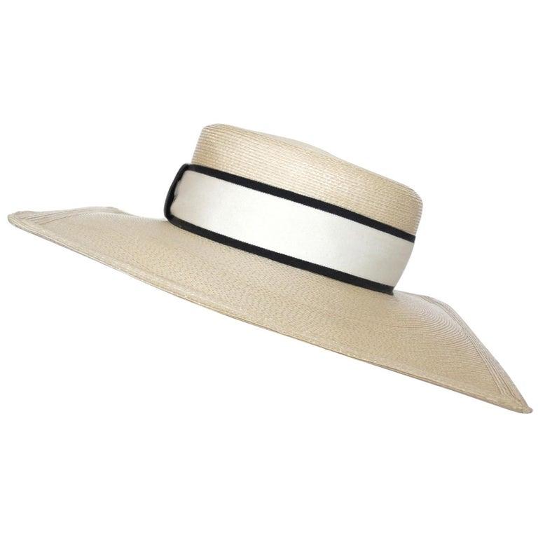 1970s Yves Saint Laurent Square Brim Boater Hat For Sale