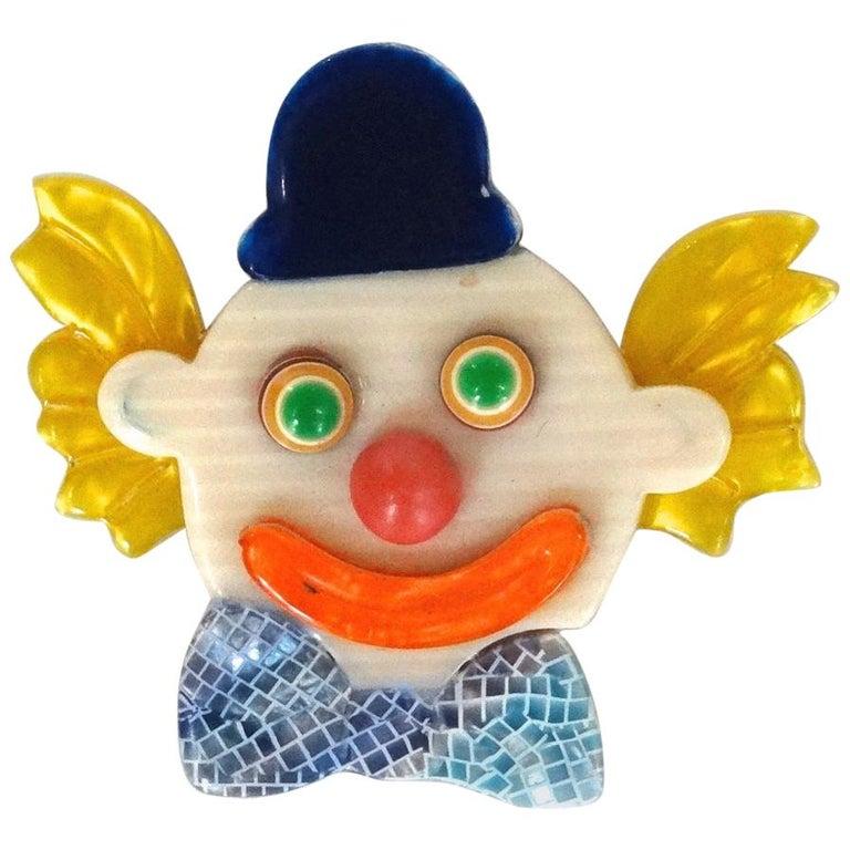 1970s Lea Stein Clown Brooch For Sale