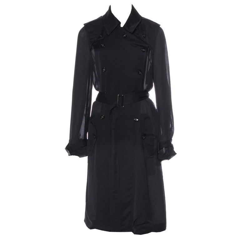 Yves Saint Laurent Size: S/M  US4, FR38 Brand New with Tags $2295  Butter Soft Sheer Silken Trench Coat Spring/Summer 2009 Runway Collection Amazing attention to detail Lightweight double-breasted   Pointed collar Dual shoulder epaulets Dual slit
