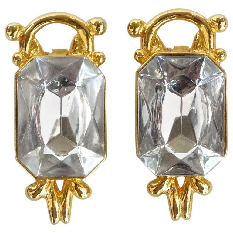 1980s Paolo Gucci Large Crystal Clip-on Earrings  For Sale