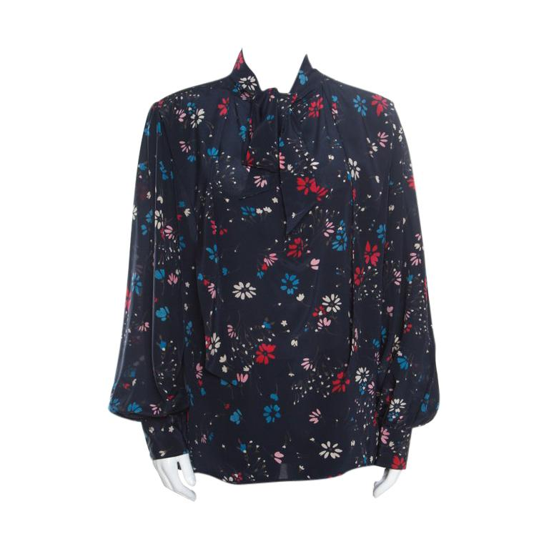 41e85ded959157 Balenciaga Navy Blue Floral Printed Silk Neck Tie Detail Long Sleeve Blouse  M For Sale