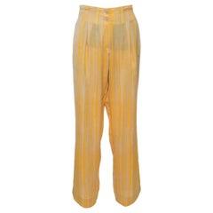Bottega Veneta Yellow and Grey Striped Pants L