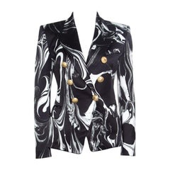 Balmain Black Marble Printed Satin Double Breasted Blazer S