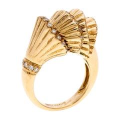 Boucheron Frou Frou Diamond 18K Yellow Gold Cocktail Ring Size 53