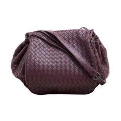 Bottega Veneta Burgundy Intrecciato Leather Drawstring Flap Crossbody Bag