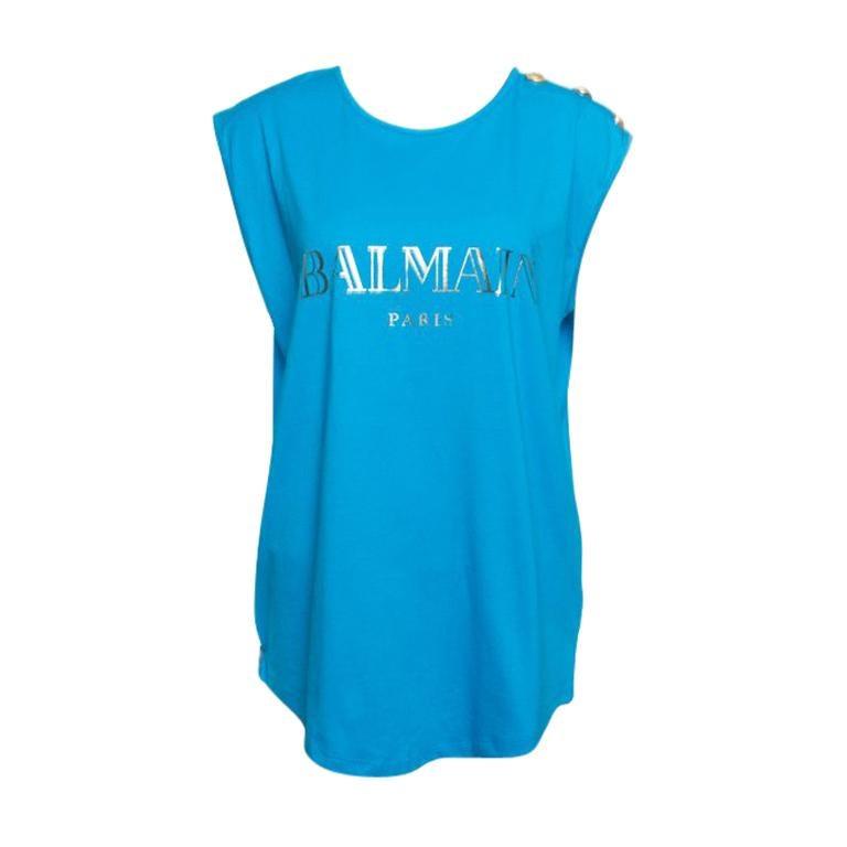 240a8012 Balmain Blue Cotton Shoulder Logo Button Detail Sleeveless T-Shirt L For  Sale