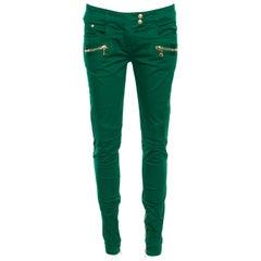076df47c1080 Balmain Green Denim Ribbed Panel Zip Detail Skinny Biker Jeans S