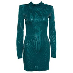 Balmain Green Floral Jacquard Knit High Neck Power Shoulder Mini Dress M
