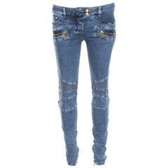 Balmain Indigo Washed Denim Pin-tucked Panel Zip Detail Skinny Biker Jeans S