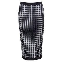 Monochrome Windowpane Checked Knit Midi Pencil Skirt M