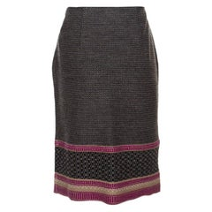Veneta Multicolor Patterned Wool Knit Pencil Skirt S