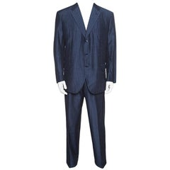 Grey Striped Slub Silk and Mohair Tailored Suit 3XL