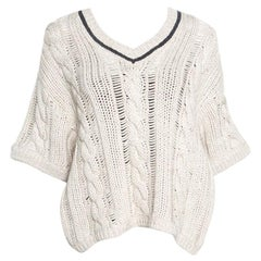 Cucinelli Beige Chunky Knit Monili Trim V Neck Sweater S
