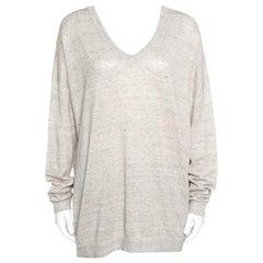 Beige Metallic Knit Linen Long Sleeve Sweater XXL