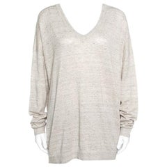 Beige Perforated Knit Raglan Sleeve Crew Neck Sweater XL