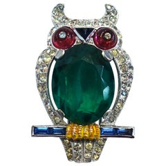 RARE Vintage Signed Trifari Owl Fur Clip Brooch