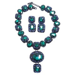 Emerald Green & Blue Crystals Necklace & Earrings Set