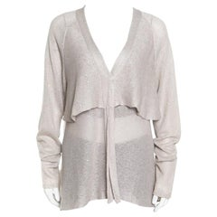 Beige Sequined Knit Layered Long Sleeve Cardigan XXL