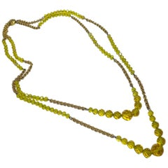 Vintage Art Deco 1930s Long Yellow Crystals 2-Strand Necklace
