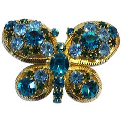 Vintage Signed Weiss Crystals Dragonfly Brooch