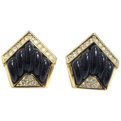 Vintage Black & Clear Crystals Earrings