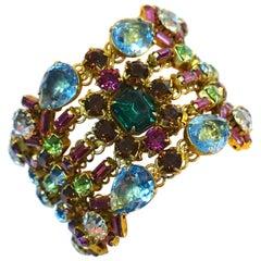 Vintage Hobe? Multi-Color Crystals Cuff Bracelet