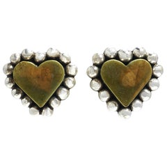 Vintage Signed Brenda Schoenfeld 1994 Mexico Heart Earrings