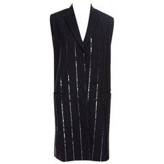 Grey Wool Sequin Striped Sleeveless Blazer Dress M