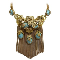 Victorian Vintage Faux Turquoise Dangling Necklace