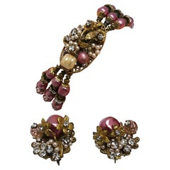 Vintage Originals by Robert? 3-Strand Bracelet & Clip Earrings Set