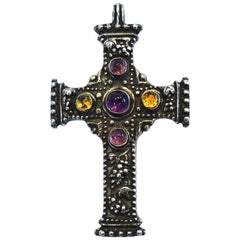 Vintage Signed R. Collins 1991 Amethyst & Amber Sterling Silver Cross Pendant